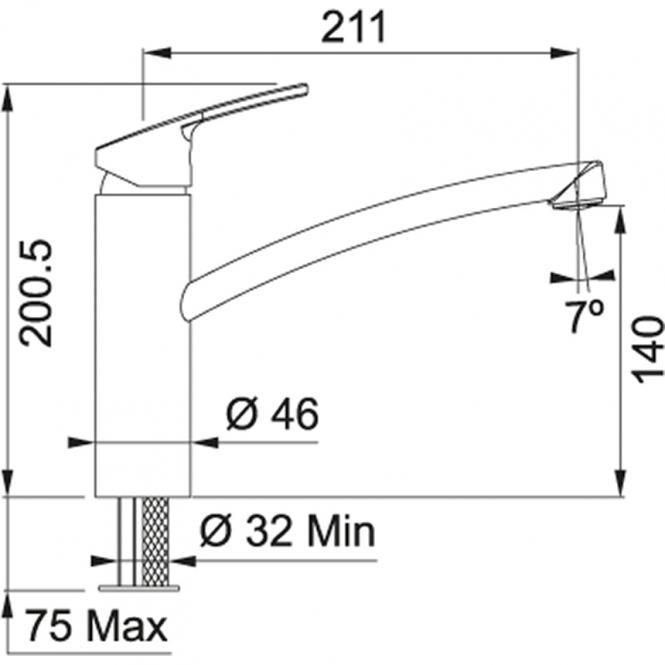 Segisti FRANKE Smart 115.0391.481 fikseeritud tila, roostevaba. terasest varju